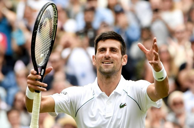 Novak Djokovic of Serbia (pictured) won in straight sets Wednesday, and will face Hubert Hurkacz of Poland in the semifinals of Wimbledon 2021 on Friday in London. Photo by Neil Hall/EPA-EFE