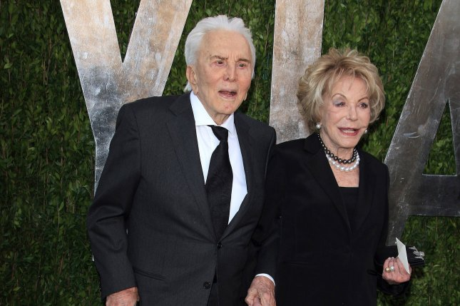 Kirk Douglas (L), pictured with Anne Douglas, celebrated his birthday with family Saturday in Beverly Hills, Calif. File Photo by Nina Prommer/EPA