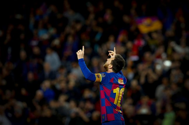 Lionel Messi now has 613 goals in 700 games during his tenure for FC Barcelona. Photo by Enric Fontcuberta/EPA-EFE