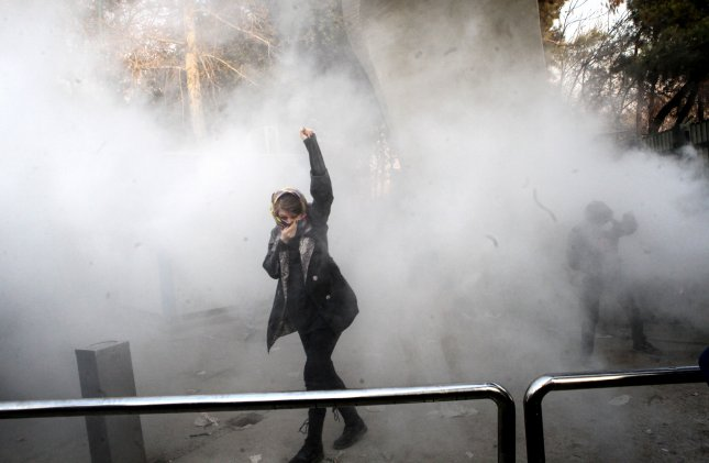 Iran restricted access to several social media apps Sunday as two people were killed in ongoing anti-government protests. Photo by STR/EPA