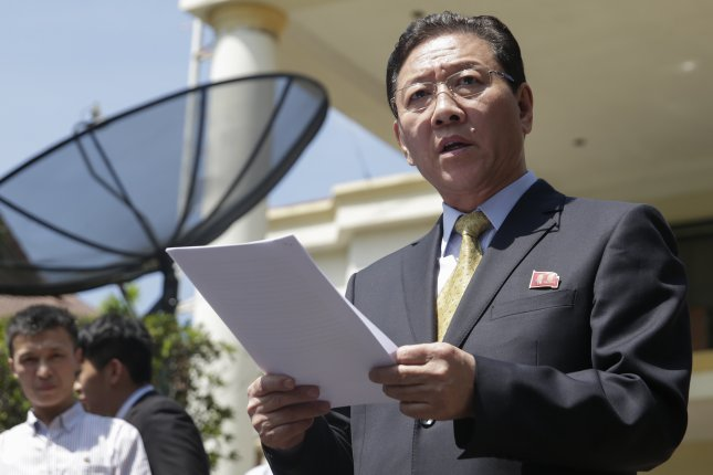 North Korea's ambassador to Malaysia, Kang Chol, speaks to the media outside the North Korean embassy during a press conference in Kuala Lumpur, Malaysia, on Feb. 20, 2017 following the death of Kim Jong Nam at Kuala Lumpur International Airport. Photo by Fazry Ismail/EPA