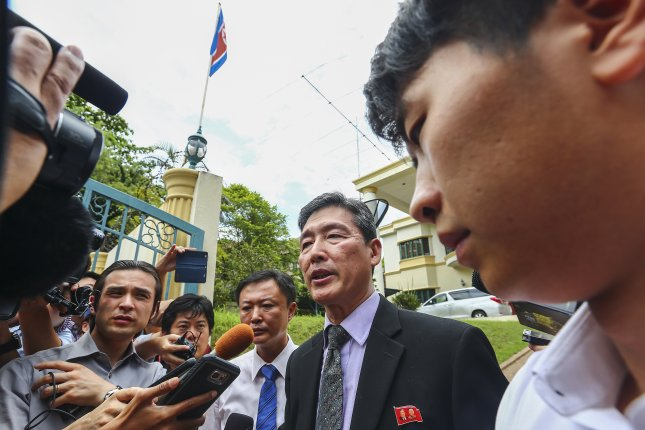 Ri Tong Il, a former North Korean deputy ambassador to the United Nations, speak to the media at the North Korean embassy in Kuala Lumpur, Malaysia, in February. North Korea's foreign currency earnings are taking a hit in Malaysia and Indonesia after the assassination of Kim Jong Nam. Photo by EPA