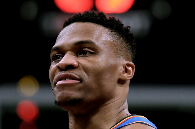 Oklahoma City Thunder guard Russell Westbrook had 24 points, 17 rebounds, 13 assists, four steals and 10 turnovers in a loss to the Chicago Bulls on Friday in Chicago. Photo by Peter Foley/EPA-EFE