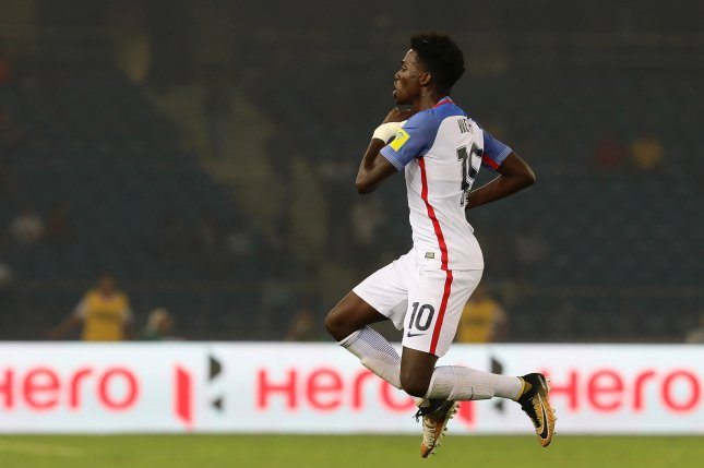 Forward Tim Weah scored the only goal in the United State's win against Qatar, helping his squad advance to the knockout stage of the U-20 World Cup on Thursday in Poland. Photo by Rajat Gupta/EPA-EFE