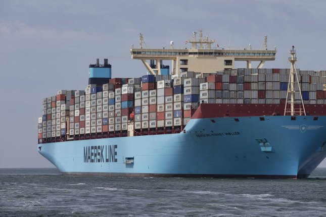 Cargo shipping company Maersk announced Tuesday it has set a goal of reducing net carbon emissions to zero by 2050. File photo by Jerry Lampen/EPA-EFE