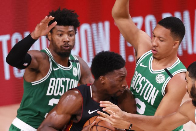 Boston Celtics guard Marcus Smart (L) entered Saturday's game averaging 13.2 points and six assists per game, both career highs. File Photo by Erik S. Lesser/EPA-EFE
