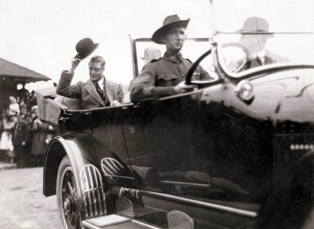 Edward Prince of Wales, the future King Edward VIII, tips his hat to the crowd upon arriving in Sydney, Australia, ca. 1920. File Photo courtesy State Library of New South Wales