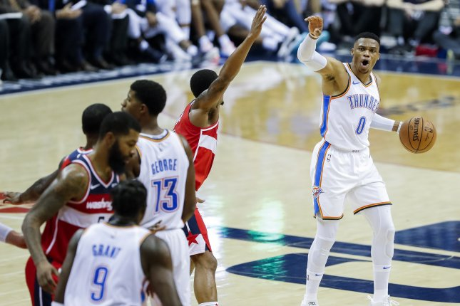 Oklahoma City Thunder guard Russell Westbrook (R) in action against the Washington Wizards during the second half of an NBA basketball game between the Oklahoma City Thunder and the Washington Wizards on November 2 at Capital One Arena in Washington, D.C. Photo by Erik S. Lesser/EPA-EFE