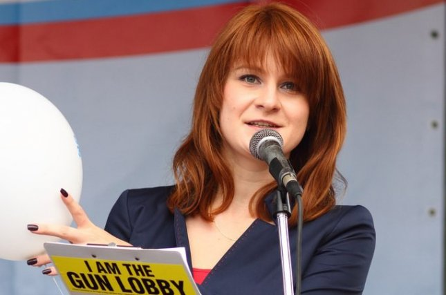 Maria Butina attends a rally to demand expansion of gun rights in Russia. File Photo by EPA-EFE