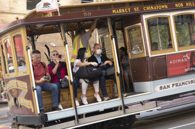 Tourists wear protective masks while riding the cable car last week in San Francisco, where a series of high-profile tech industry events have been canceled due to fears over COVID-19. Photo by John G. Mabanglo/EPA-EFE