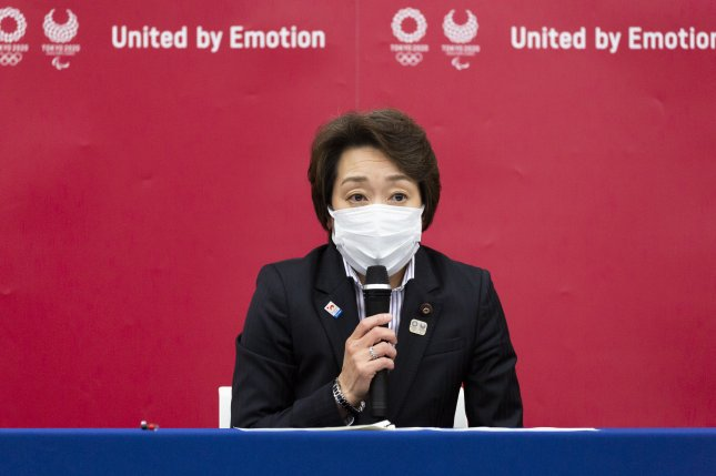 Seiko Hashimoto, president of the Tokyo 2020 Olympics Organizing Committee, speaks during a press conference following the committee's executive board meeting in Tokyo, Japan, on Thursday. Photo by Yuichi Yamazaki/EPA-EFE/Pool