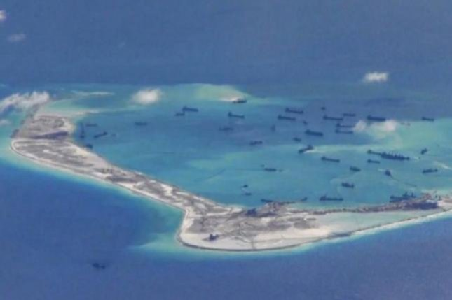 Mischief Reef is one of several man-made structures in the disputed South China Sea near the Spratly Islands that has been built up by China. The Pentagon this week expressed concern about a missile launch from near the islands, though an exact location of the test has not been revealed. Photo courtesy of U.S. Navy
