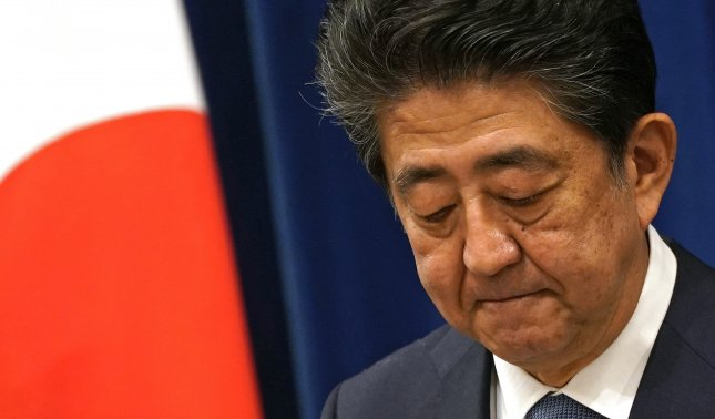 Japanese Prime Minister Shinzo Abe announced his resignation during a press conference at the prime minister's official residence in Tokyo, Japan, on Friday. Photo by Frank Robichon/EPA-EFE