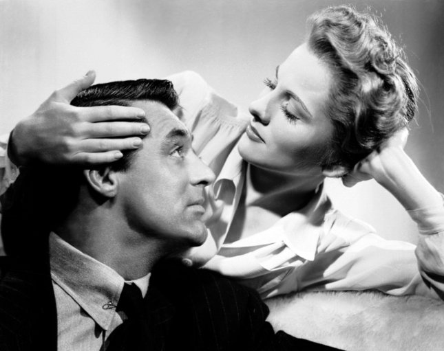 Joan Fontaine and Cary Grant star in the 1941 Hitchcock thriller, 'Suspicion,' for which Fontaine won an Academy Award for Best Actress. (RKO Radio Pictures)