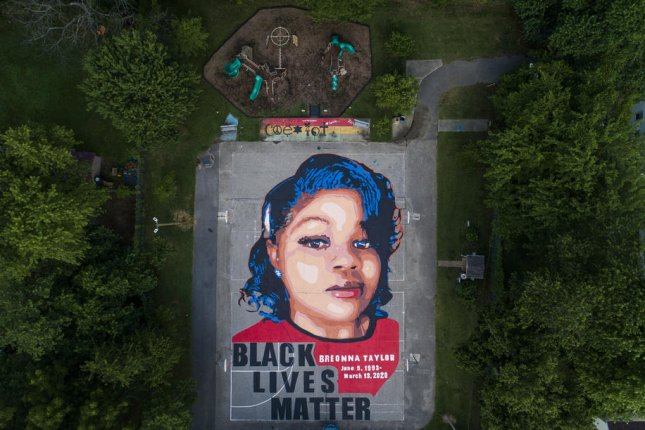 A mural of Breonna Taylor, who was killed in her apartment by Louisville, Ky., police officers is seen on a basketball court in Annapolis, Md., on July 8, 2020. File Photo by Jim Lo Scalzo/EPA-EFE