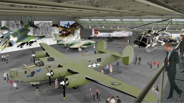 A new home in a preserved portion of the Willow Run Plant will provide a home for the Yankee Air Museum's flyable historic aircraft. (Artists rendition/SavetheBomberplant.com)