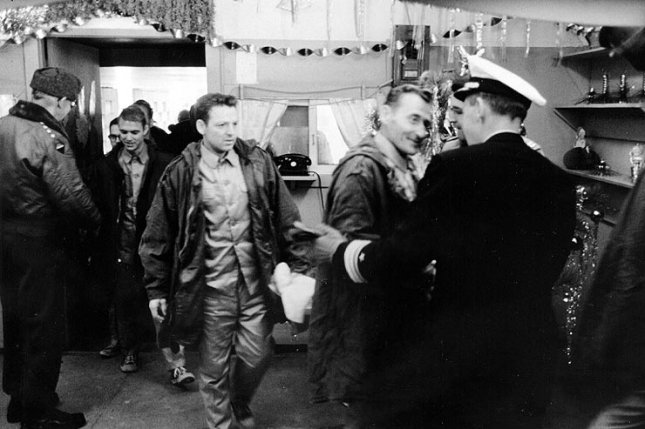 On January 23, 1968, the USS Pueblo, crew pictured upon their release, was seized in the Sea of Japan by North Korea, which alleged the ship was on a spy mission. File Photo courtesy of the Navy
