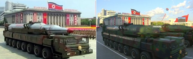 North Korea displays road-mobile intercontinental ballistic missiles (R), known as the KN-08, with round warheads during a military parade in 2015 in Pyongyang. Photo by Yonhap News Service/UPI