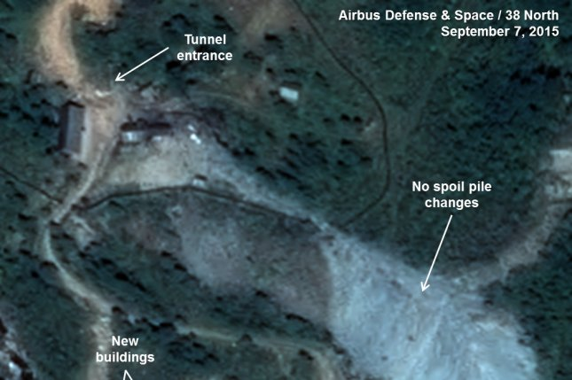 The West Portal of North Korea's Punggye-ri Nuclear Test Site pictured on September 7, 2015. Photo courtesy of Airbus Defense & Space and 38 North. Image includes material Pleiades © CNES 2015. Distribution Airbus DS / Spot Image, all rights reserved.