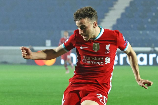 Liverpool's Diogo Jota scored twice in the first half and once in the second half of a win over Atalanta on Tuesday in Bergamo, Italy. Photo by Paolo Magni/EPA-EFE