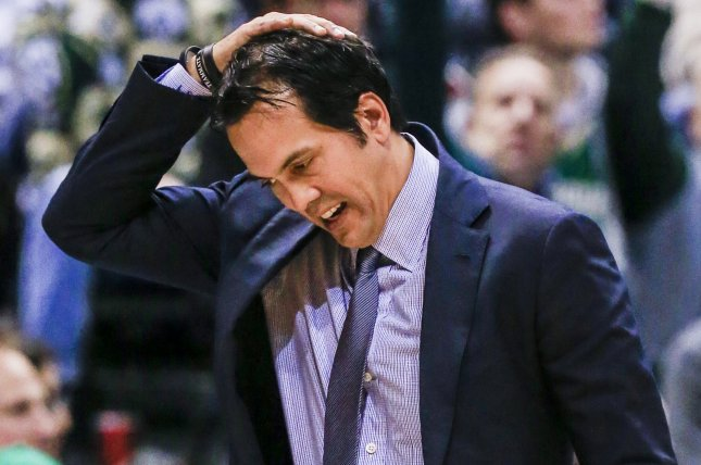 The Miami Heat and coach Erik Spoelstra face an 0-2 deficit heading into Game 3 of an Eastern Conference playoff series against the Milwaukee Bucks. Photo by Tannen Maury/EPA