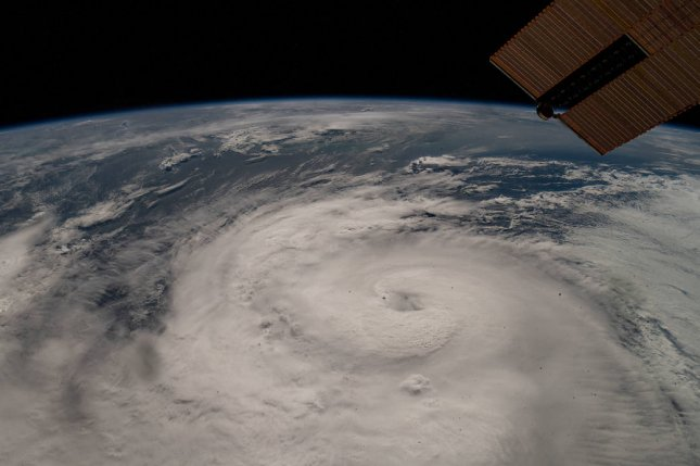 Hurricane Zeta is seen from the International Space Station as it swirls in the Gulf of Mexico near Louisiana on October 28. It was the final named storm of 2020. File Photo by Mark Garcia/NASA