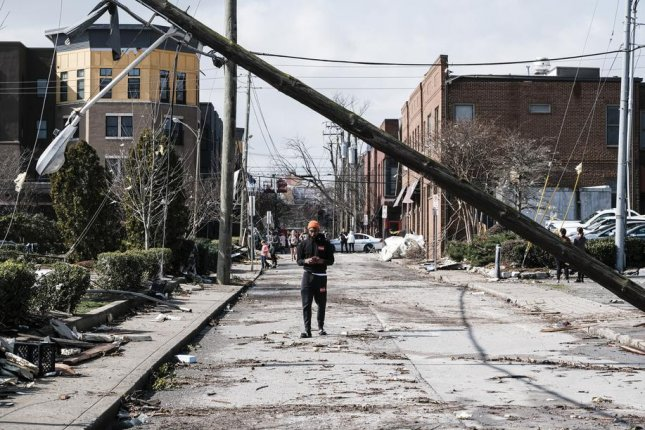 A path of damage swept through several neighborhoods after a tornado struck Nashville on Tuesday. Photo by Rick Musacchio/EPA-EFE