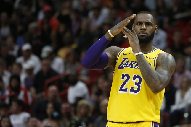 Los Angeles Lakers forward LeBron James (23) and his agent, Rich Paul, were outspoken against the NCAA's decision to enforce a bachelor's degree requirement to represent basketball players. File Photo by Rhona Wise/EPA-EFE