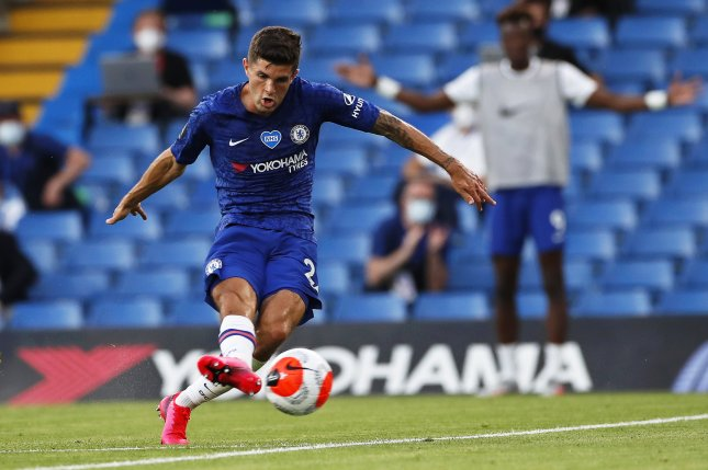 Chelsea forward Christian Pulisic suffered a hamstring injury in a loss to Arsenal in August. File Photo by Paul Childs/EPA-EFE