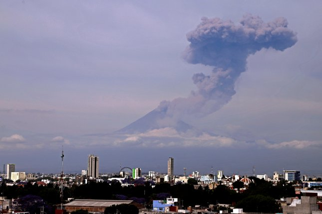 A general view of the Popocatepetl volcano from the city of Puebla, Mexico. Mexico's National Disaster Prevention Center raised its alert for the Popocatepetl volcano due to increased activity on Thursday. Photo by Hilda Rios/EPA-EFE