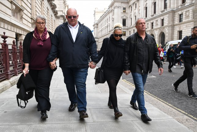 The family of Harry Dunn leave the Foreign Office in London after a meeting with British foreign secretary Dominic Raab on October 9. File Photo by Andy Rain/EPA-EFE