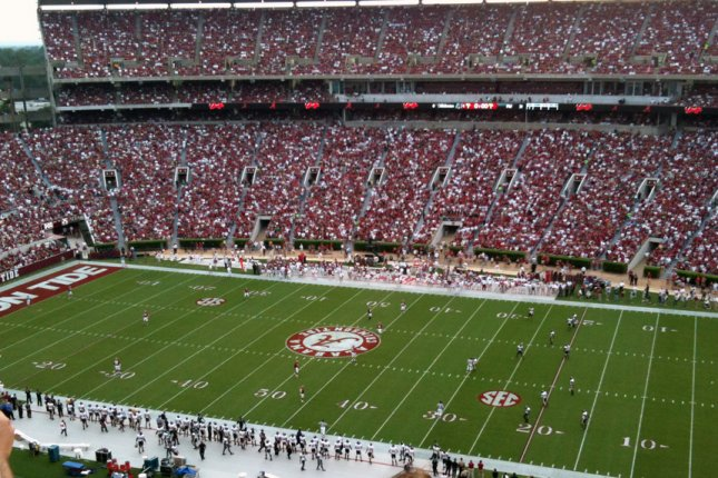 Bryant-Denny Stadium in Tuscaloosa, Ala., has a capacity of about 101,000. Last season, about 20,000 fans were allowed to attend each home game, due to COVID-19. File Photo by Matthew Tosh/Wikimedia Commons