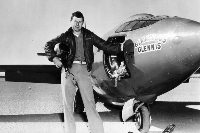 Capt. Charles E. Yeager stands next to the Air Force's Bell-built X-1 supersonic research aircraft. Yeager became the first man to fly faster than the speed of sound in level flight on October 14, 1947. File Photo by USAF/UPI