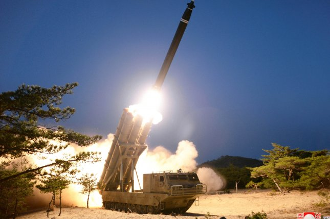 North Korea released images of its most recent weapons test on Sunday and Monday. Photo by KCNA/EPA-EFE