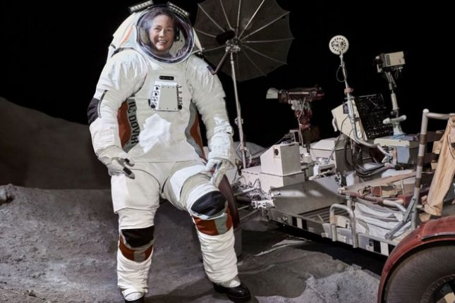 A model wears a prototype of the Astro lunar spacesuit designed by Delaware-based ILC Dover. Photo courtesy of ILC Dover