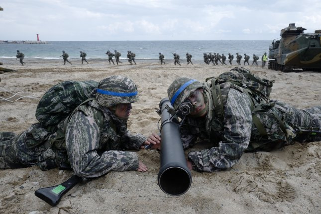 File photo of annual Amphibious Operations (AMPHOPS) during the annual Foal Eagle exercises against a possible attack from North Korea, in Pohang, 360 km southeast of Seoul, South Korea, on April 2, 2017. File Photo by Jeon Heon-kyun/EPA