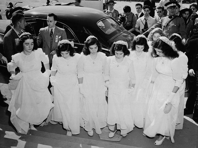 The Dionne quintuplets and their sisters arrive at Lansdowne Park in June 1947 to take part in a program of religious music during the Marian Congress. The quintuplets were born May 28, 1934. File Photo courtesy of Library and Archives Canada
