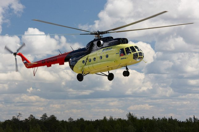 A Russian MI-8 helicopter belonging to the UTair airline, like the one shown here, crashed in eastern Siberia, killing all 18 people aboard. The helicopter reportedly was carrying a crew of three and 15 passengers to an oil station. Photo by EPA-EFE/Heli.UTair.ru