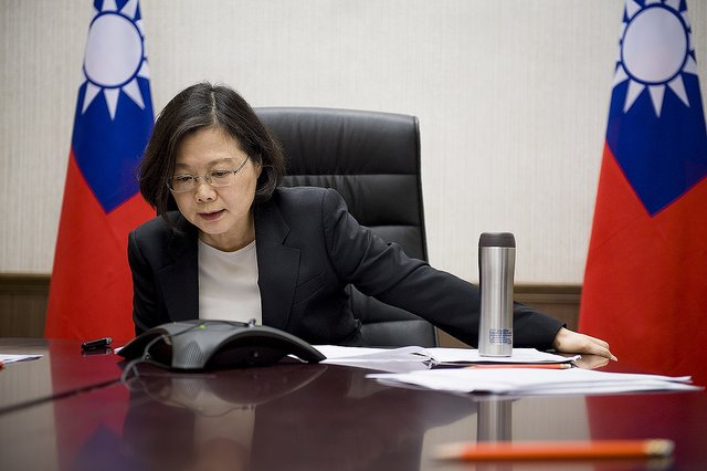 Taiwanese President Tsai Ing-wen is pictured speaking by phone with U.S. President Donald Trump. Taipei on Friday rejected a proposal from China to support admittance to the World Health Organization. Photo courtesy Office of the President of Taiwan
