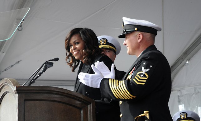 First Lady Michelle Obama announces Bring the Ship to Life during the commissioning ceremony at Naval Submarine Base New London, on October 29, 2016, for the USS Illinois (SSN 786). The Illinois is the U.S. Navy's 13th Virginia-Class attack submarine and the fourth ship named for the State of Illinois. Photo by Chief Petty Officer Darryl I. Wood/U.S. Navy