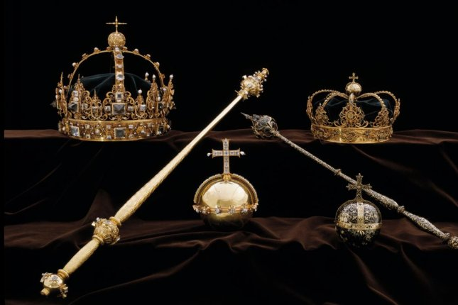 Two burial crowns and an orb belonging to 17th Century King of Sweden Karl IX (Charles IX) and his wife, Queen Christina, were stolen Tuesday from the Strangnas Cathedral. Swedish Police have launched a manhunt to track down a pair of thieves in the heist. Photo courtesy of Swedish Police/EPA-EFE