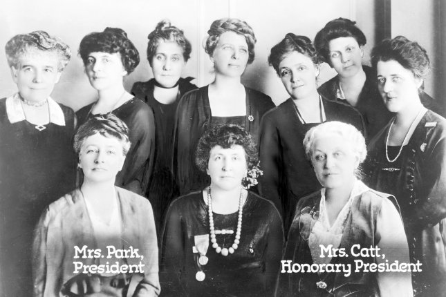 Portrait of the National League of Women Voters' board of directors, including Maud Wood Park and Carrie Chapman Catt, taken during its Chicago Convention in 1920. The group was founded on February 14, 1920, by Catt. File Photo by Library of Congress