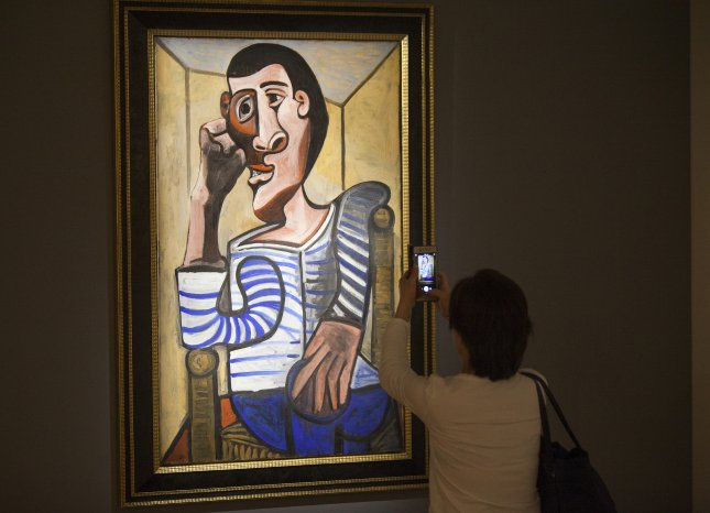 Pablo Picasso's self-portrait Le Marin had an estimated value of $70 million before it was damaged ahead of a Christie's auction. File Photo by Alex Hofford/EPA-EFE