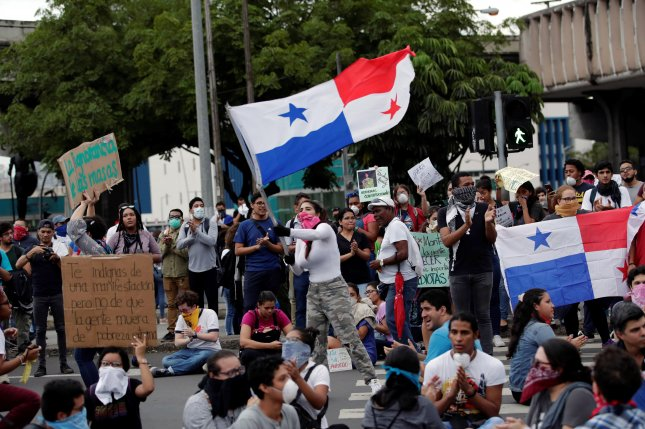 Demonstrators gather in Panama City, Panama, on October 30, 2019, to oppose proposed against constitutional reforms. Panama was one of four governments added to an EU blacklist Tuesday. File Photo by Bienvenido Velasco/EPA-EFE