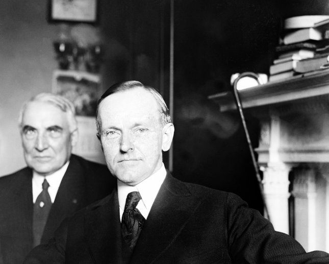 First presidential selfie ever? Republican presidential nominee Warren G. Harding and his pick for vice president, Calvin Coolidge, pictured together at the U.S. Capitol in Washington, D.C., on June 30, 1920. File Photo by Library of Congress/UPI