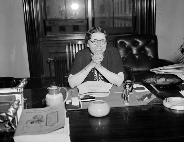 Senator Hattie Caraway (D-Ark) poses for the cameraman on Oct. 8, 1936, as she declares herself fit and ready for the opening of the next session of Congress. File Photo by Library of Congress/UPI
