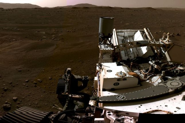 A still from a NASA video shows the Mars rover Perseverance on the surface on Thursday. Photo courtesy of NASA