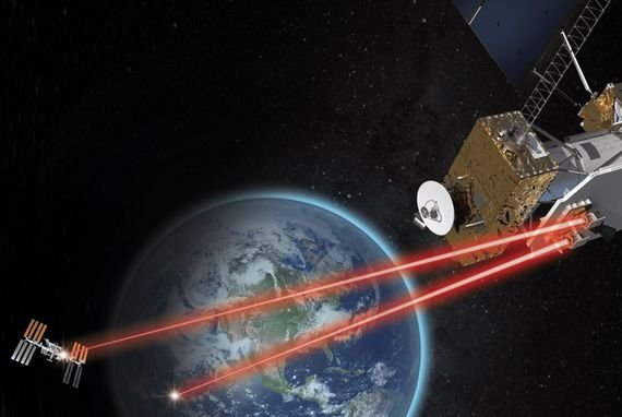 An illustration depicts infrared lasers beaming data to a ground station from space at speeds many times faster that radio waves. Image courtesy of NASA