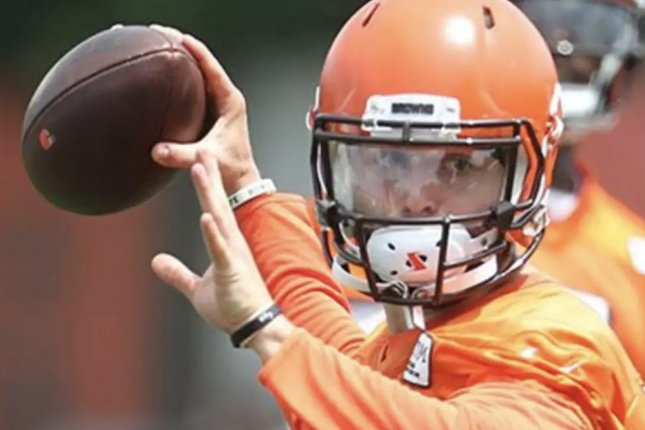 Cleveland Browns quarterback Baker Mayfield throws a pass on June 13 at minicamp in Berea, Ohio. Photo courtesy of the Cleveland Browns.