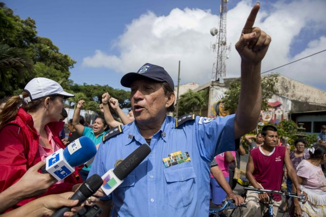 Senior Commissioner Javier Martinez speaks to reporters in Diriamba, Nicaragua, Monday as anti-government protests continue over a demand for the resignation of President Daniel Ortega. Photo by Jorge Torres/EPA-EFE